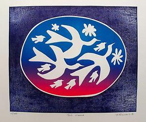 "MIREILLE KRAMER ""TROIS OISEAUX"" Hand Signed Limited Edition Art Etching"