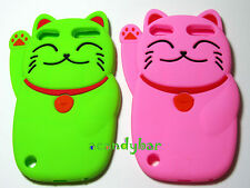 iPod Touch 5 5Gen 3D Smile Cartoon Lucky Cat Soft Silicone Pink/Green Cover Case