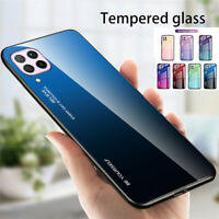 For Huawei P40 Lite P40 Pro Gradient PC Tempered Glass+TPU Slim Back Case Cover