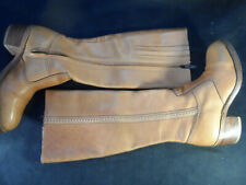 Vintage 70's Bort Carleton Tan Leather Boots Sz 7.5 Side Zip Boho USA Quality