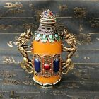 An Exquisite Chinese Handmade Double Dragon Inlaid Beeswax Snuff Bottle