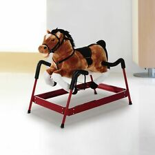 Qaba Plush Vintage Spring Rocking Horse Bouncing Kids Riding Toy Rocker w/ Sound