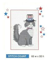 PATRIOTIC CAT  -  CROSS STITCH PATTERN ONLY    HM - QUP