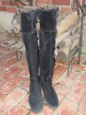 FRANCO SARTO BLACK SUEDE TALL CUFF OVER THE KNEE RIDING BOOTS~8.5