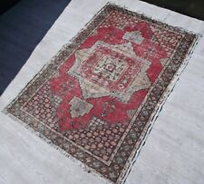 Handwoven Oushak Carpet 4x6 ft Home Living Room Red Wool Faded Antique Area Rug