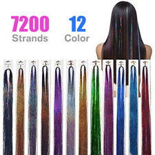 12 Packs 48INCH HAIR Tinsel Extensions Glitter Colored Extension 7200 Strands