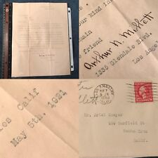 1921 Arthur Millett Autograph/Signed Letter Early Silent Film Movie Star