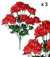 """Coral Microfiber Rose 20"""" Bush (Pack of 3) Wedding Party Home Decor Silk Flower"""