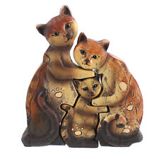 Jigsaw Cat Family Statue Ornament