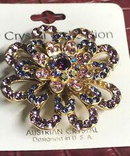 Attractive Wedding Brooch Pin Pendant Purple Fancy Austrian Rhinestone Crystal