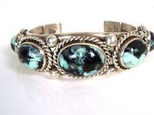 Vintage Navajo Native Amer Albert Lee Sterling Turquoise Cuff Bracelet GAL Aprsl