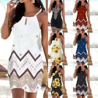 Women Halter Neck Boho Print Sleeveless Casual Mini Beachwear Dress Sundress P