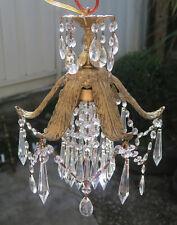 Palm Swag Brass spelter Chandelier lamp leaf fountain crystal prism light fixtur