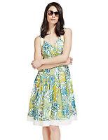 M&S Per Una White Blue Yellow Floral Cotton Dress Sz UK 12 14 16 18 reg & long