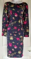 Womens Hobbs Dress silk size 10 blue red flower pencil smart work party occasion