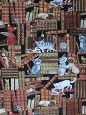 SMART CATS ON BOOKS SHELVES CAT GLASSES COTTON FABRIC FQ