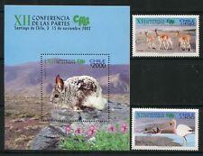 CHILE 2002 Tiere Vögel Lamas Flamingos 2083-84 + Block 55 MNH
