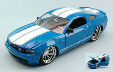 Ford Mustang Gt 2010 Blue w/ White Stripes 1:24 Model JADA TOYS