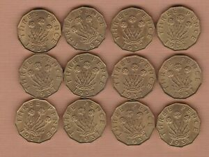 TWELVE 1937 BRASS THREEPENCE COINS IN A BRIGHT NEAR MINT CONDITION