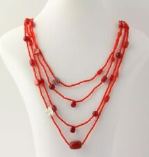 New Beaded Liquid Necklace - Red Dyed Quartzite Glass Abalone Love Charm Silver