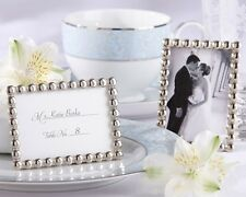 Silver Pearls Mini Wedding Photo Frame Picture Reception Favor Card Holder Party