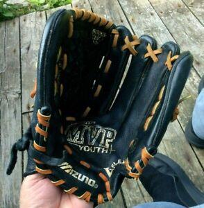 "MIZUNO Youth Black Leather MVP GPL1153D Right Hand Baseball Glove 11.5"" NEW"