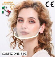 5x Mouth Shield parafiato trasparente bocca naso plastica lavabile
