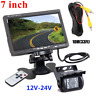 "Car Reversing Camera + 7"" LCD Monitor Truck Bus Van Rear View Kit 12V/24V 10M"