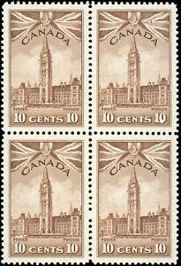 Canada Mint NH VF Block of 4 10c Scott #257 KGVI 1942 War Issue Stamp