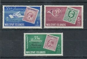set of 3 mint QEII stamps from the Maldive Islands. 1961
