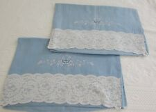 Antique French 100% Linen Pillowcases Fine Lace & Embroidery Wedgwood Blue Pair