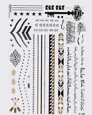 oro tatuaggio FLASH TATTOOS ARABO TEMPORANEI BELLEZZA Schmuckset 30 pezzi w-89