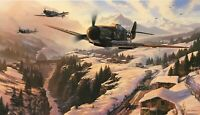 WINTER PATROL by Nicolas Trudgian aviation art signed by Luftwaffe Bf 109 Aces