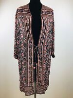 New Xhilaration Black Floral Kimono Style with String Juniors Top Size S