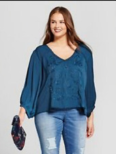 cd6a65724c3d80 Women's Plus Size Long Sleeve Embroidered Top Blouse - Xhilaration 3x Blue