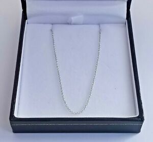 "18ct 750 WHITE GOLD CABLE CHAIN 16.75"" necklace 1mm links 2.3g lobster clasp"