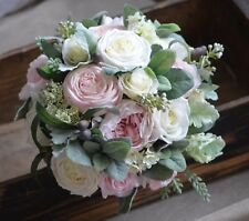 Cabbage Roses Bouquets Real Touch Blush Ivory Roses Peonies Lamb's ears