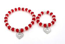 """Valentines Day bracelets little girl and 18"""" doll matching jewelry accessory red"""