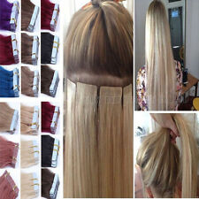 Tape In Remy 100% Human Hair Extensions 16-26Inch Skin Weft PU Straight Hair