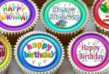 24 X HAPPY BIRTHDAY MIXED CUPCAKE TOPPERS EDIBLE PREMIUM RICE PAPER 3264