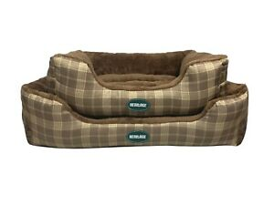 Heritage Brown Deluxe Soft Washable Dog Bed Pet Warm Basket Cushion Fleece Cat