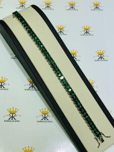 "Platinum Sterling Silver Green Sapphire Emerald Cut Tennis Bracelet 7mm Wide 7""L"