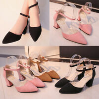 women pointed toe high heels shoes 7cm strappy chunky heels XE