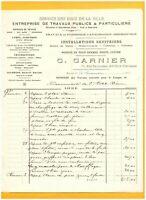 """BAYEUX (14) Ets de TRAVAUX PUBLICS / PLOMBERIE SANITAIRES """"G. GARNIER"""" en 1921"""