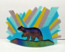 COLORFUL GLASS ARTWORK SCULPTURE WILDLIFE BEAR DESIGN SIGNED
