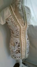 Vtg 1920,s 30's style Gatsby white gold pearl beaded wedding dress size 6 uk
