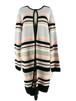Calvin Klein Women's Black & Pink Color Block Striped Cardigan Sweater Large NEW