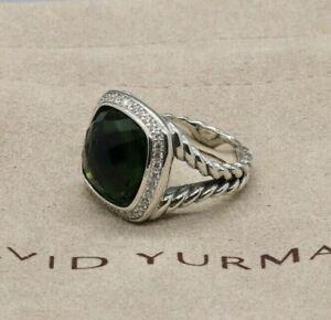 David Yurman Sterling Silver 14mm Albion Prasiolite w/ Diamonds Ring sz 6.75