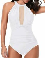 Tempt Me Women One Piece High Neck V-Neckline Mesh Ruched, White-1, Size X-Large