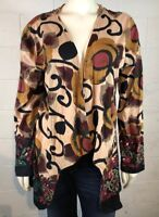 Take Two Clothing Co Cardigan Top Size L Art To Wear Boho Floral 100% Cotton